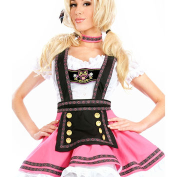 Women Oktoberfest Pink Oktoberfest Beer Maid Peasant Costume German Maid Wench G