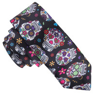 Mens Tie Corbatas 3d Mexican Flower Skull Printing Brand Gravata Neckties for Men Formal Pajaritas Hombre Skinny Tie for Wedding