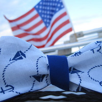 Double Sided Blue and White Nautical Bow Tie-Ben's Summer Collection
