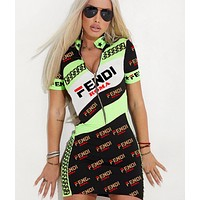 Fendi Summer New Fashion More Letter Print Women Shopping Leisure Contrast Color  Shorts Sleeve Dress Black