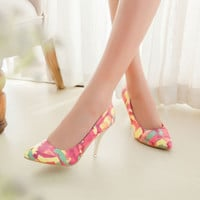 "Ladies Fashion (4-12) Printed floral Nubuck leather Flock Pinted toe 3.54""Thin High heels shoes women pumps Stilettos Cinderella"