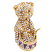 Graff Yellow Gold Precious Gemstone Teddy Bear Brooch