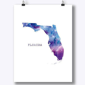 Florida Map Print, Watercolor Florida Poster Miami Home Office Room Decor Map Art Orlando Print City Painting Gift Wall Art Digital Download
