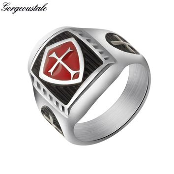 Gorgeous Tale Titanium Steel Knight Templar Crusader Cross Rings Vintage Men Jewelry Red Armor Shield Medieval Signet 2017