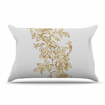 "888 Design ""Golden Vintage Rose"" Floral Digital Pillow Sham"