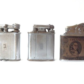 3 Vintage Petrol Lighters, Polo Lift Arm, Modern Lite, Tobacciana, Cigarette Pipe Cigar, Gift For Him, Rustic Man Cave, 100 USD