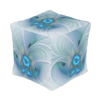 Standing Ovations, Abstract Blue Turquoise Fractal Pouf