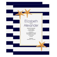 Starfish and navy blue white stripes beach wedding card