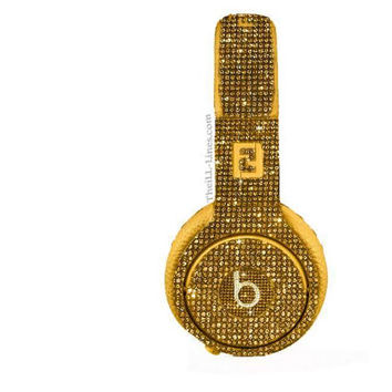 Studio Beats by Dre Custom Headphones Yellow Swarovski Crystals
