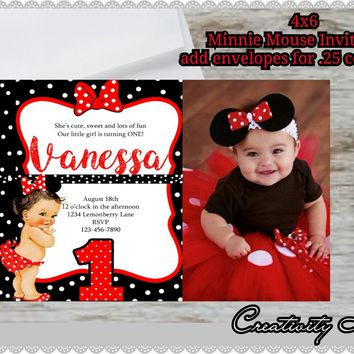 Minnie Mouse invitations, minnie mouse birthday, red minnie mouse invitations, minnie mouse party, picture paper, 1st, red. With envelopes