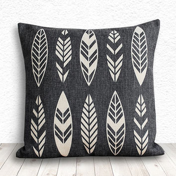 Geometric Pillow Cover, Pillow Cover, Tribal Pillow Cover, Linen Pillow Cover 18x18 - Printed Feathers - 120