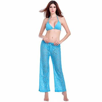 SWIMMART Sexy Ladies' Beach Wear Cover-Ups Leisure Loose Style Adjustable Waist-Tie Floral Sexy Long Lace Beach Pant Cover-Ups
