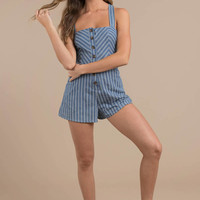 Lexa Stripe Chambray Romper With Belt