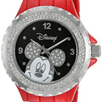 Disney Womens Mickey Mouse Quartz Metal and Alloy Watch ColorRed Model W002894