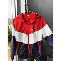 NIKE Tide brand men and women woven sports casual breathable hooded jacket red