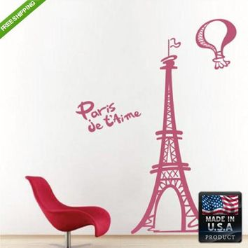 Wall Decal Decal Sticker Beautiful Kids Eiffel Paris Tower Bedroom z101