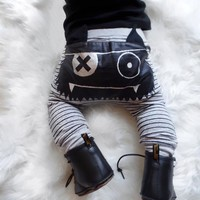 Infant Baby Boy Cool Harem Pants Babies Boy Street Striped Elastic Monster Clothing Toddler Bottoms Boy Pants Legging