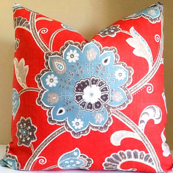 Red Floral Jacobean Pillow Cover 16x16 18x18 20x20 22x22 24x24 Decorative Throw Pillow Cover
