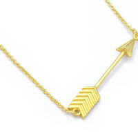 Arrow Necklace Brass (Small Petite Minimalist Genuine Gold Plated Jewelry, BN291-G)