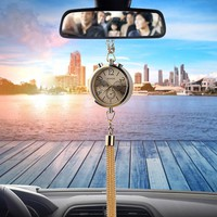 Car Clock Decoration with Perfume Air Freshener Refill Storage Auto Rearview Mirror Ornament Hanging Pendant Interior Accessory