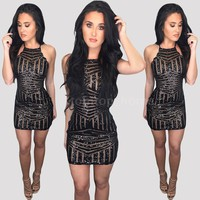 Sexy Women Sheer Sequin Glitter Bling Sparkle Bodycon Midi Dress Beach Club NEW