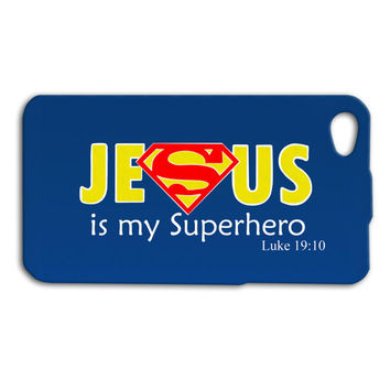 Jesus is my Superhero Phone Case Cute iPhone Case Bible Verse iPod Cover iPhone 4 Case iPhone 5 Case iPhone 4s iPhone 5s iPod 4 iPod 5 Case