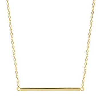 Gold Tone Sterling Silver Bar Necklace