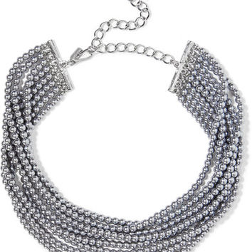 Kenneth Jay Lane - Rhodium-plated faux pearl choker