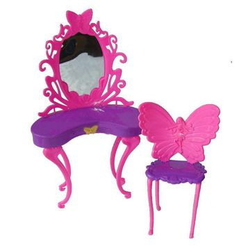 Kids Girls Pink Fantasy Doll Butterfly Dressing Makeup Table Chair