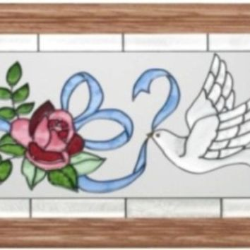 Dove Horizontal Stained Art Glass Panel