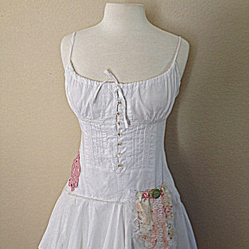Woodland Fairy Dress | Women's Upcycled Clothing | Shabby Gypsy Chic Clothes | Alternative Rustic Wedding
