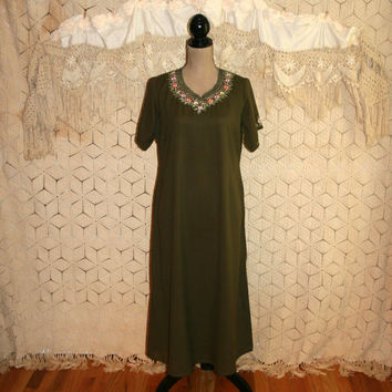 Bohemian Dress Kurta Ethnic Clothing India Dress Short Sleeve Dress Tunic Dress Embroidered Caftan Kaftan Olive Green Medium Womens Clothing