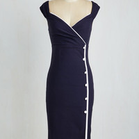 Nautical Long Short Sleeves Sheath Weekly Write-up Dress in Navy