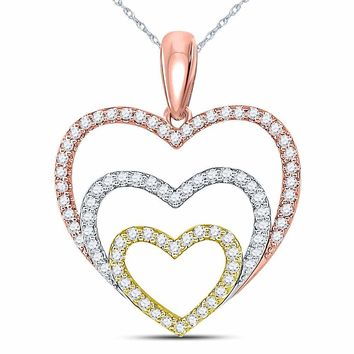 10kt Tri-Tone Gold Womens Round Diamond Triple Nested Heart Pendant 1/3 Cttw