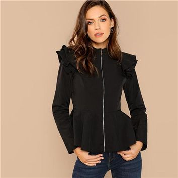 Malia Black Elegant Zip Up Ruffle Peplum Coat