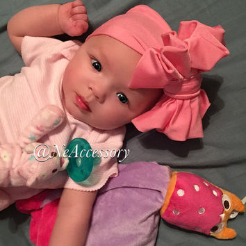 Light Pink Messy Bow Headwrap, Light Pink Messy Bow Head Wrap,