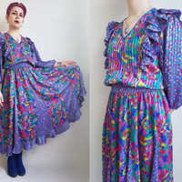 80s Maxi Dress Colorful Pink Purple Blue Green Dress Mylticolor Stripe Dress Embroidered Dress Teacher Dress Boho Bohemian Dress Size Large