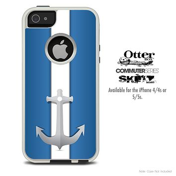 The Blue & White Striped Anchor Skin For The iPhone 4-4s or 5-5s Otterbox Commuter Case