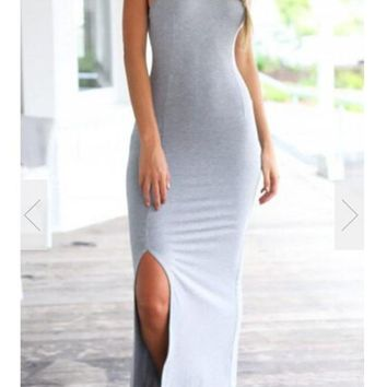 Grey Backless Tie Back Round Neck Sleeveless Maxi Dress