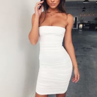 Summer Fashion New Solid Color Sexy Leisure Strapless Dress Women White