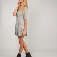 U-Back Babydoll Dress - Gray - Large