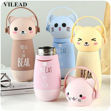 Adorable Kawaii Monkey Cats Vacuum Thermos Kid Water Bottle Stainless Steel Cup