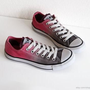 grey and pink ombre dip dye converse sneakers upcycled vintage all stars low tops b