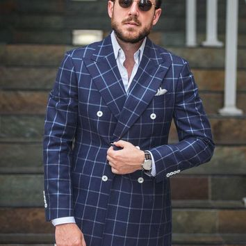 New Arrival Mens Checkered Suit Windowpane Fashion Men Suits Custom Made,Checkered Man Wedding Double Breasted Suit 2017