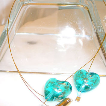 Aqua Green & Glimmering Gold Dangling Hearts Necklace. Glass Heart Necklace. Puffed Heart Jewelry. Blue. Gold. Jewelry Sale.
