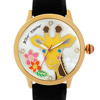 Betsey Johnson Watch, Women's Black Patent Leather Strap 41mm BJ00084-26 - Betsey Johnson - Jewelry & Watches - Macy's