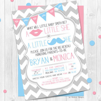 Chevron Gender Reveal Invitation, baby reveal invite, gender reveal, chevron, gray, little he or little she, blue or pink, mustache and lips