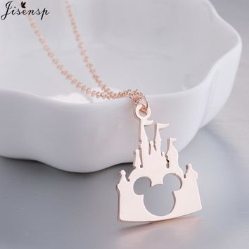 Jisensp Bijoux 2018 Fashion Mickey Head Necklace Lovely Long Chain Castle Necklaces Pendants Women Statement Jewelry Kids Gifts