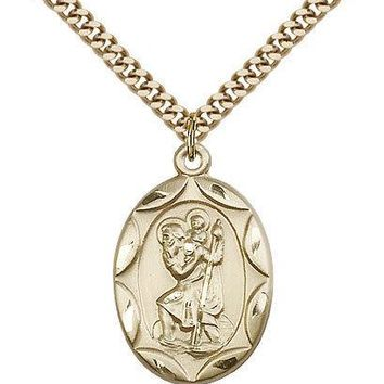"Saint Christopher Medal For Men - Gold Filled Necklace On 24"" Chain - 30 Day ... 617759774269"