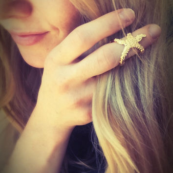 Starfish knuckle ring,boho adjustable ring,ocean ring,fish ring,midi ring,gold,ethnic ring,mystical ring,hippie,beach,top finger ring